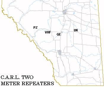 Graphic map of VHF Repeaters across Central Alberta