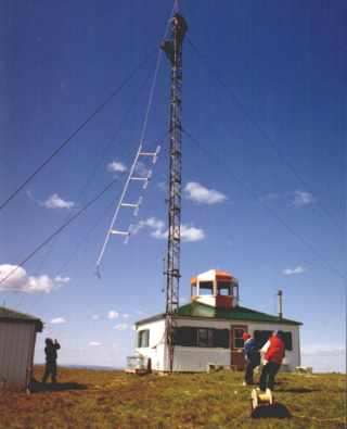 Picture of the installation of the VHF antenna at VE6PZ Mt. Baldy