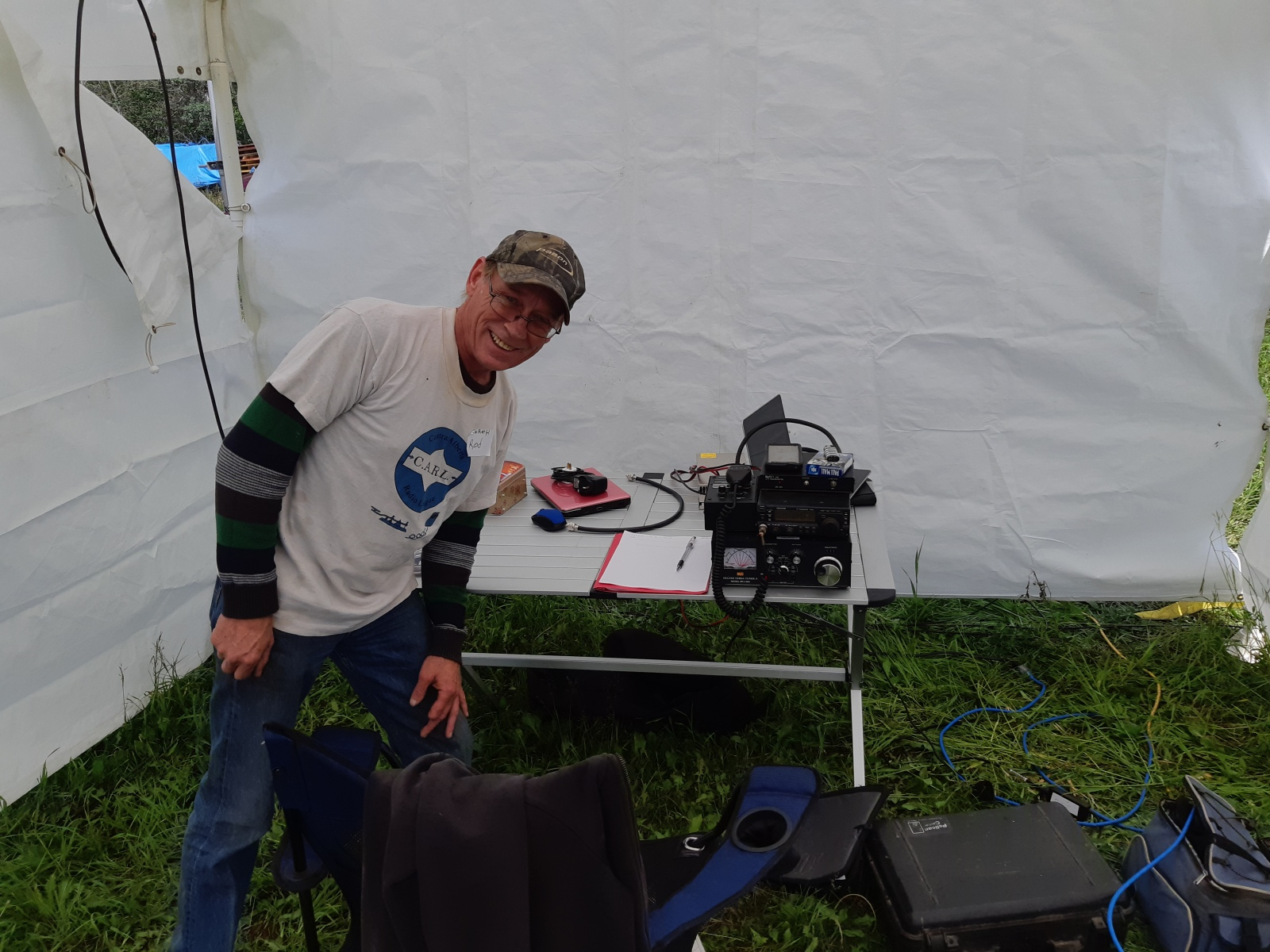 Rod VE6ROH with his 6 meter and 2 meter SSB station.