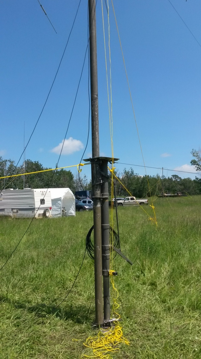 Bob VE6BLD's portable military towers. What a slick way to get our antennas up in the air!!